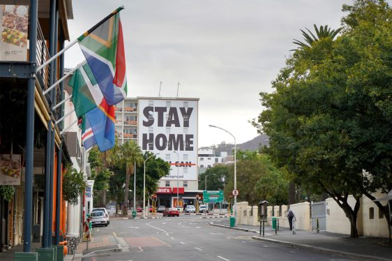 Empty streets and a stay home sign in Cape Town during the Coronavirus lockdown